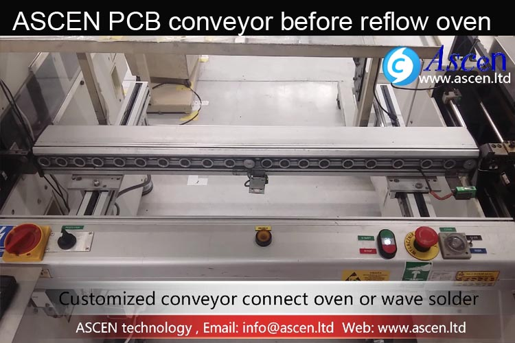 PCB buffer conveyor inspection transport before reflow oven