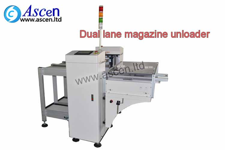 dual magazine SMT unloader is used at the starting of the PCB production line for unloading of PCBA